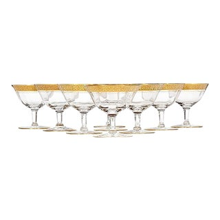 Art Deco Floral Gold Rim Low Coupes, Set of 9