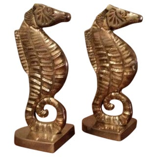 Vintage Brass Seahorse Bookends - A Pair