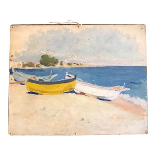 Nautical French Beach Cove Landscape Painting
