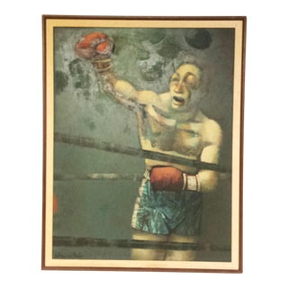Large Mid-Century Boxer in Ring Oil Painting by Edmond Kohn