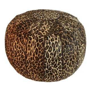 Jamie Young Leopard Print Cowhide Ottoman
