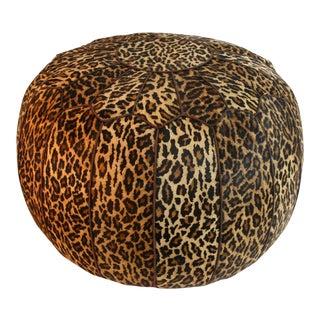Leopard Print Cowhide Ottoman