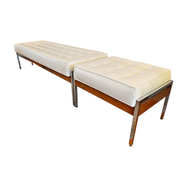 1970s Milo Baughman Style Tufted Chrome Bench - Image 1 of 7
