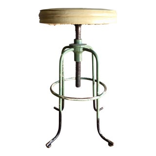 Vintage Medical Stool With Adjustable Seat