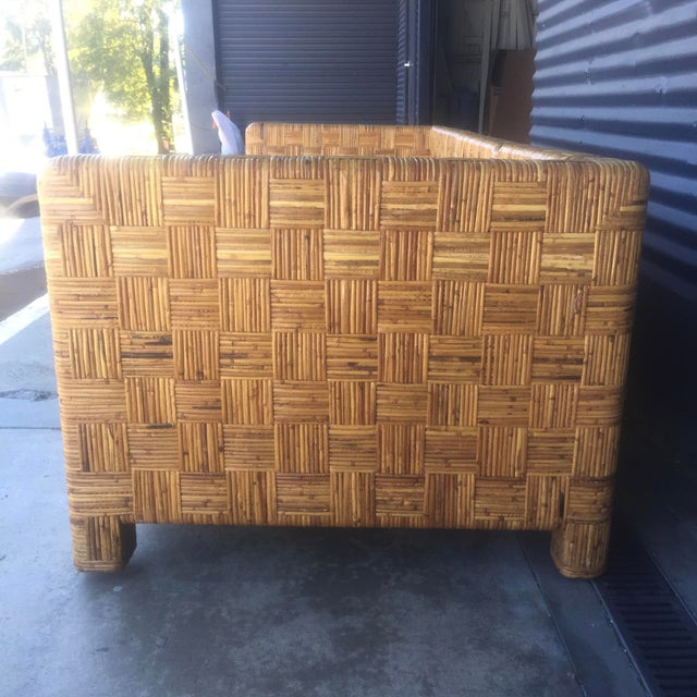Vintage Woven Caning Sectional Sofa - Image 9 of 11