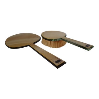Art Deco Vanity Mirror & Brush - A Pair