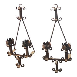 Pair of Vintage Rustic Spanish Style Wrought Iron Wall Sconces Candle Holders