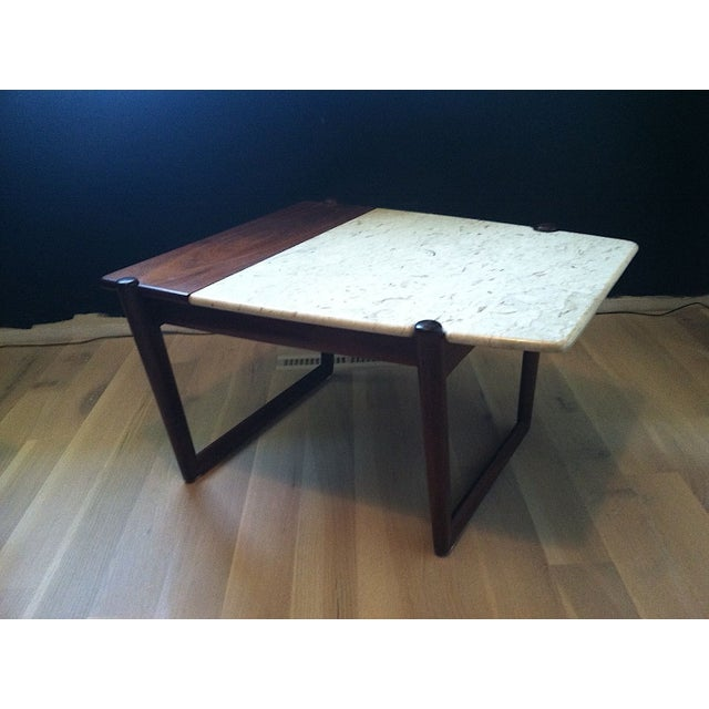 Image of Mid-Century Teak and Marble End Table