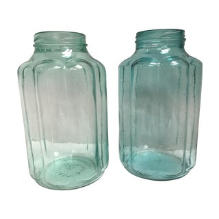 Vintage Blown Glass Fluted Pickling Jars - A Pair