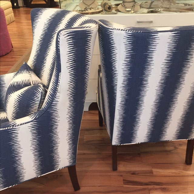 Navy & White Wing Chairs - A Pair - Image 6 of 7
