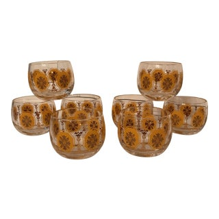 Tangerine and Gold Roly Poly Glasses - Set of 8