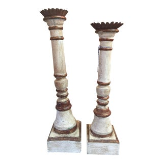 Vintage Painted Wood Candle Holders - a Pair