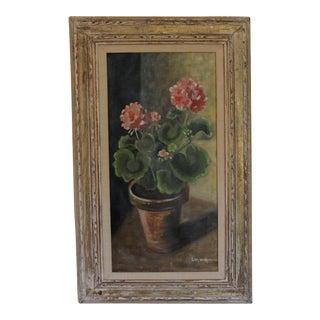 Eva Worcester 'Pink Geraniums' Still Life Painting