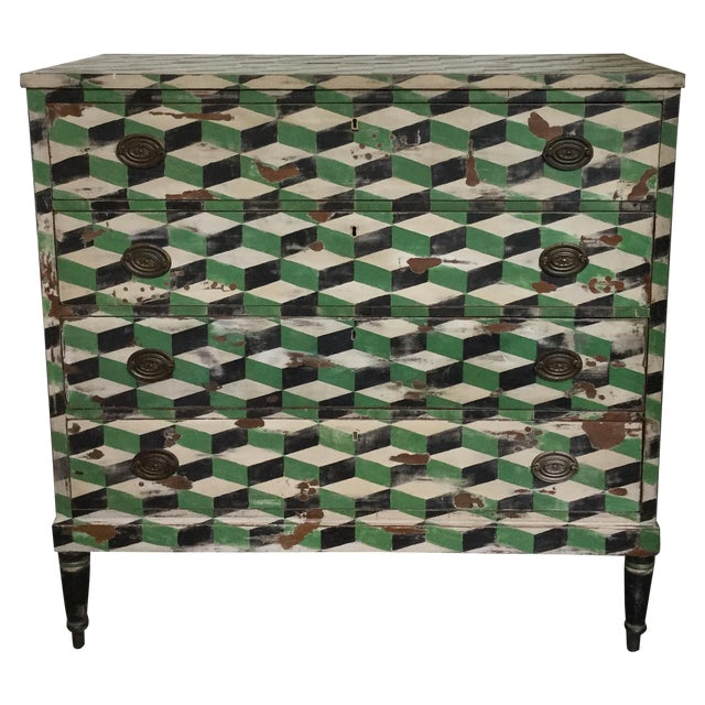 Geometric Hand Painted Antique Chest of Drawers - Image 1 of 10