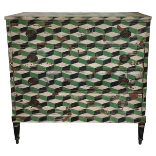 Geometric Hand Painted Antique Chest of Drawers