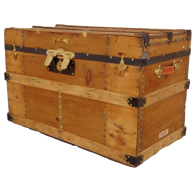 1880's Natural Finish Packing Trunk - Image 1 of 4