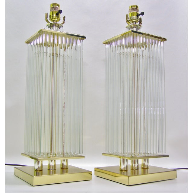Sciolari-Style Vintage Glass Rod Lamps - A Pair - Image 2 of 8