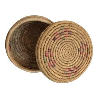Vintage Boho Chic Hand Woven Basket