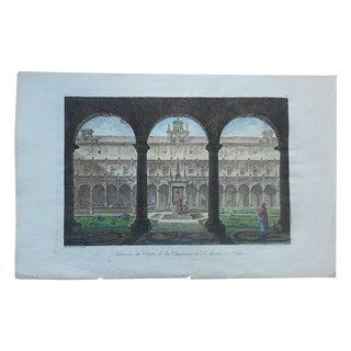 Antique Folio Cloister in Naples, Italy Print