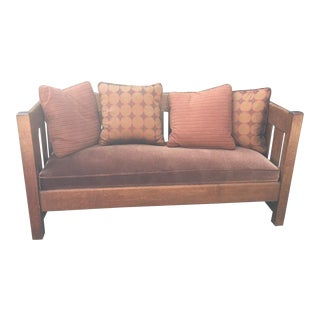 Authentic Gustav Stickley Oak & Velvet Settle