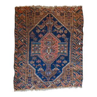 "Antique Persian Qashqai Square Rug - 4'3"" X 5'1"""