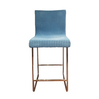 Blue Wicker & Metal Counter Stools - Set of 4