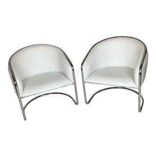 Thonet Barrel Chrome Chairs - A Pair