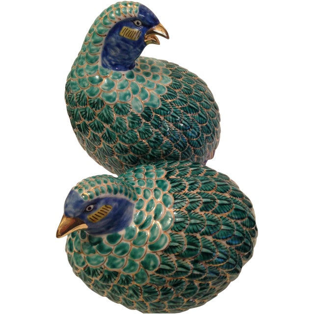 Vintage Chinese Export Porcelain Partridges - Pair - Image 1 of 5
