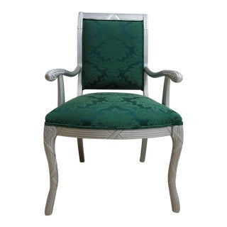 Vintage French Grey Lacquered Carved Regency Dining Room Chair
