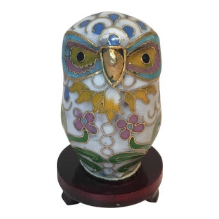 Vintage Chinese Cloisonné Enameled Brass Owl