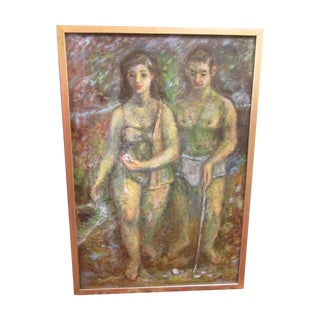 "Vintage Oil/Bd Listed Us Artist ""Shell Gatherers"""