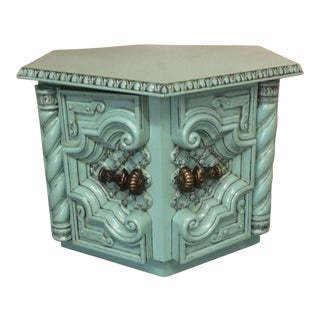 Painted Turquoise Accent Table