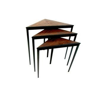 Mid-Century Iron & Wood Triangular Nesting Tables - Set of 3