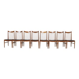 Arne Vodder / Helge Sibast Danish Modern Spindle Back Dining Chairs - Set of 8