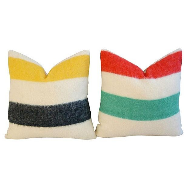 Decorative Pillows Hudson Bay : Authentic Hudson s Bay Blanket Pillows - A Pair Chairish
