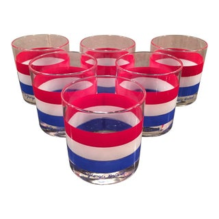 Georges Briard Red, White, & Blue Rocks Glasses - Set of 6