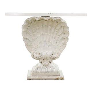 Nautical Seashell White Lacquered Entryway Table