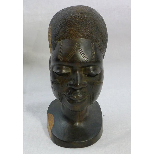 Vintage Hand-Carved African Ebony Head - Image 3 of 6