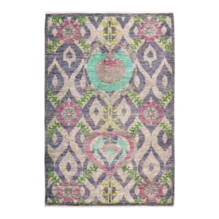 """Suzani Hand Knotted Area Rug - 4' 2"""" X 6' 3"""""""