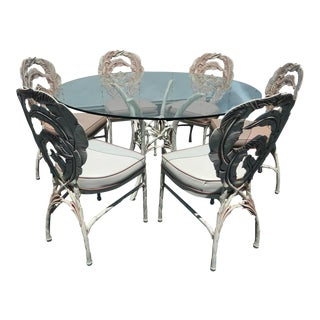 Vintage Aluminum Banana Leaf Pattern Dining Set