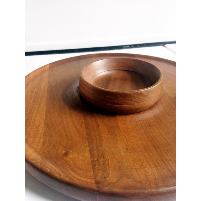 Mid-Century Walnut Lazy Susan Dip Tray - Image 4 of 6