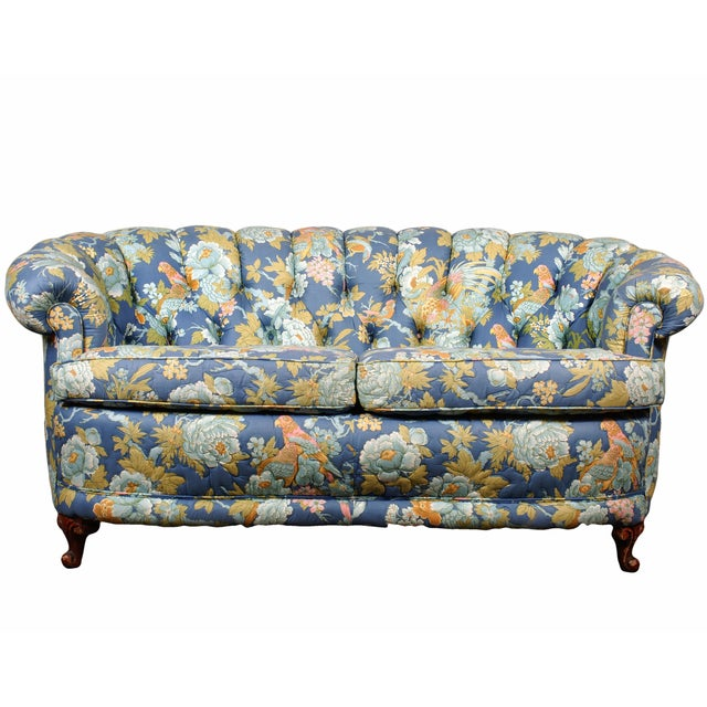 Tufted Loveseat with Parrot Upholstery - Image 1 of 5