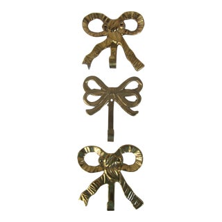 Vintage Brass Bow Wall Hooks - Set of 3