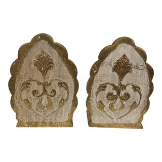 Florentine Gold Wooden Bookends - a Pair