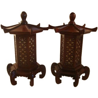 Pagoda Vintage Lanterns - A Pair