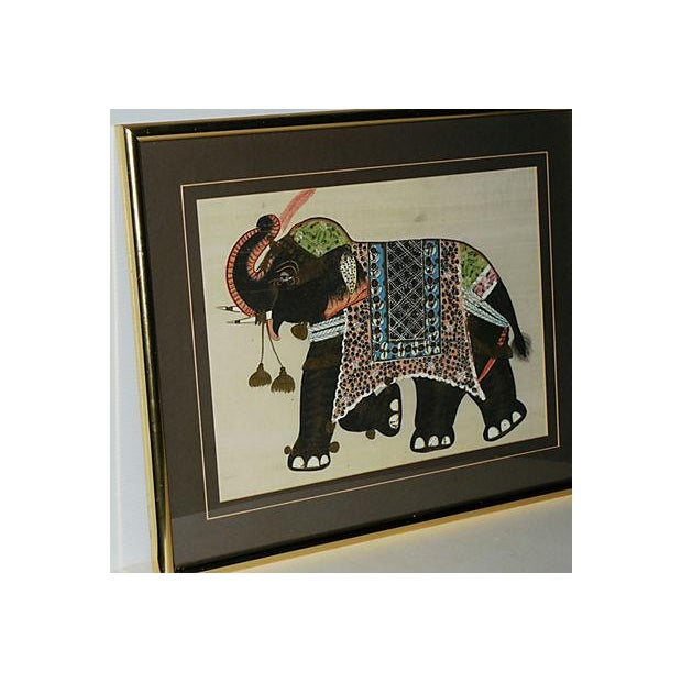 Indian Elephant Painting on Silk - Image 6 of 7