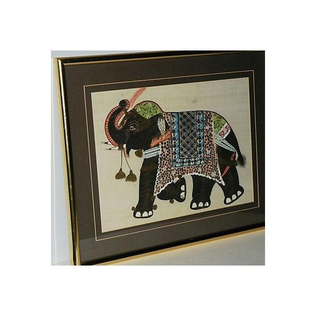 Image of Indian Elephant Painting on Silk