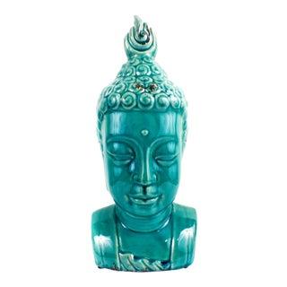 Large Buddha Bust Glaze Sculpture Turquoise Color