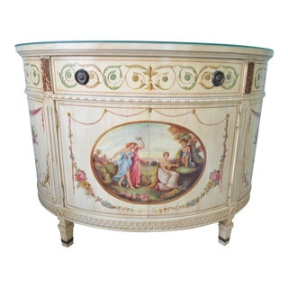 Antique Hand-Painted Adams Style Demi Lune Commode Chest Cabinet