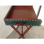 Image of Mid-Century Leather Butler's Tray Table